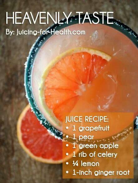 Groene smoothie voor 2: 1 kleine appel, 1 kleine peer, 2 stengels bleekselderij, 1/2 limoen, gember, grapefruitsap.