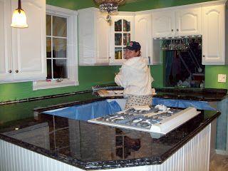 Formica to graniet...diy....http://www.remodelaholic.com/2011/08/painted-formica-countertop/
