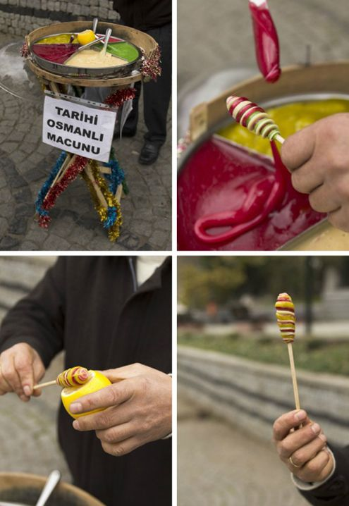 Street Food Vendors in Istanbul-a little boy made a candy just like this for us one night while we walked the streets
