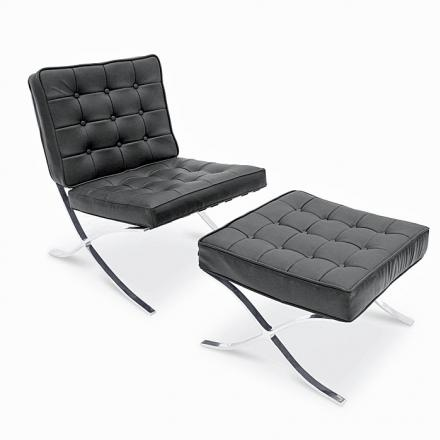 Leather Lounge Chair And Ottomon Reception Seating Leather