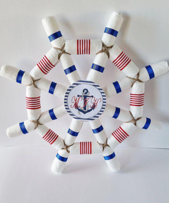 Nautical Baby Shower Centerpiece, Captains Wheel Diaper Cake, Ahoy Itu0027s A  Boy Baby Shower, Sailor Diaper Cake, Baby Shower Decor