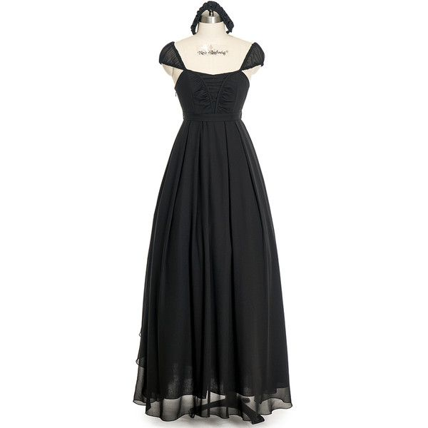 NEW RELEASED OFFER Gothic Retro Black Dress Summer Maxi Dress Draped... ❤ liked on Polyvore featuring dresses, gowns, maxi gowns, chiffon maxi dress, goth dresses, draped maxi dress and evening maxi dresses