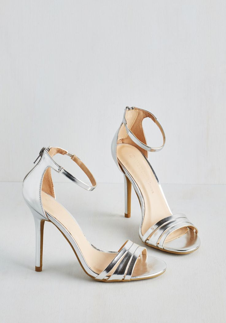 Sought-After Sophistication Heel in Silver. Set a new standard for elegant attire with these silver heels! #silver #prom #modcloth