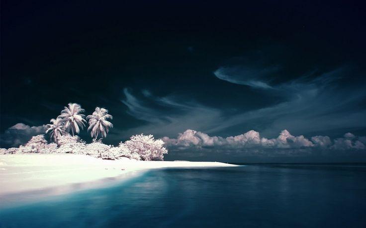 Soğuk okyanus plaj duvar kağıdı manzara