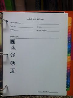 FREE Individual Session Template and explanation of what each symbol stands for when meeting with a student.