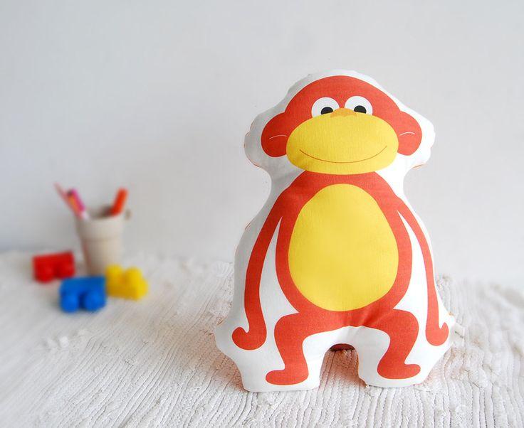 Monkey cotton pillow, stuffed animal pillow, Decorative cushion, Children pillow, kids, baby toy, nursery toy, room deco, stuffed monkey
