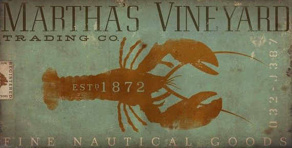 Marthas Vineyard trading company lobster illustration original artwork giclee print by Stephen Fowler geministudio PIck A Size