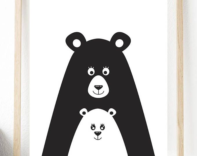Nursery Prints Bear Printable Animal Decor Childrens Wall Art Home