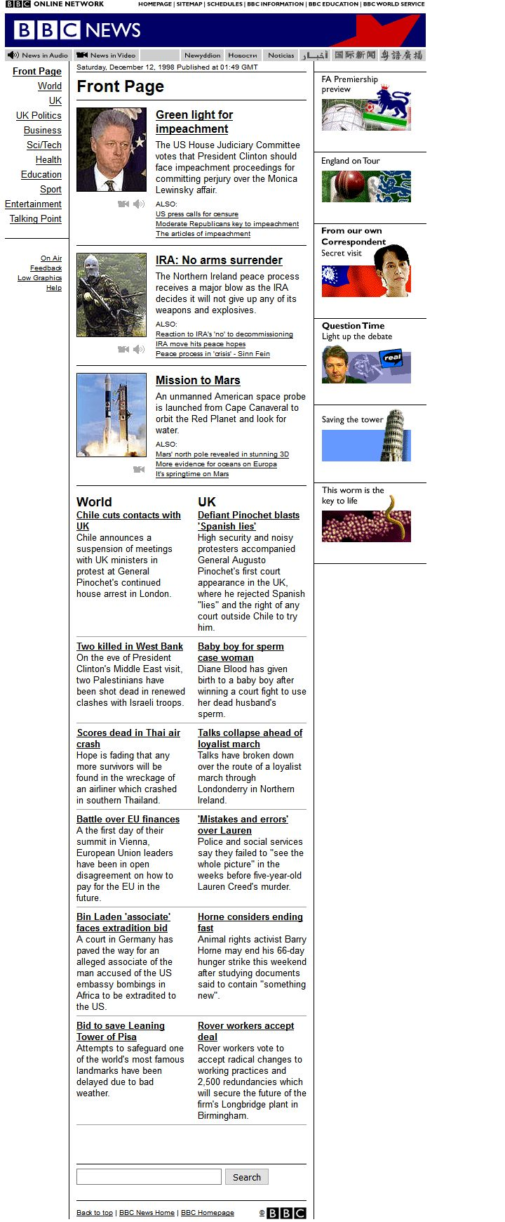 BBC News website in 1998