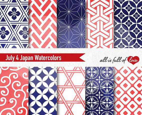 July 4th Digital Paper Pack Watercolor Patterns by AllFullOfLove