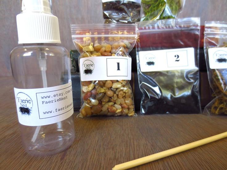 Small Terrarium Contents Kit, DIY Terrarium Supply, Moss Terrarium Kit, Layered Terrarium Supplies, Live Moss Kit. $8.00, via Etsy.
