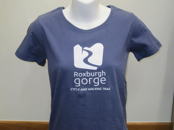 Roxburgh Gorge T-shirt in Marine.  Reflecting the colour of thyme that is prevelant in the  Roxburgh Gorge.  Available at Central Otago Visitor Centres or online. http://www.centralotagonz.com/online-shop