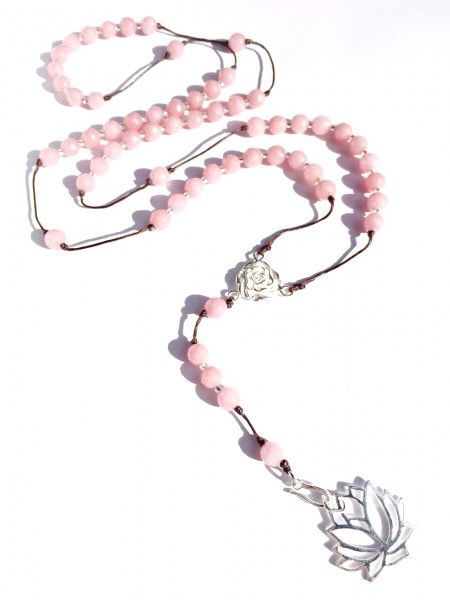 Featuring Heart Mala RHODOCHROSITE ROSARY BEADS with SILVER LOTUS PENDANT ~ ~ ~ In the Vedic traditions of India, The Lotus flower symbolizes purity, beauty, fertility, prosperity, and spiritual awakening. Though rooted in the mud, the lotus rises above to blossom in the sun. The divinely beautiful and mystical lotus flower is considered a symbol of purity as it emerges from murky waters unspoilt and unblemished thus its association with spiritual enlightenment.  ~heartmala.com~