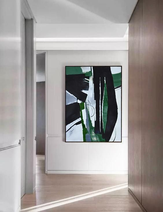 CZ Art Design - Hand painted oversized dark green contemporary painting on canvas, Vertical original fine art #XB123B