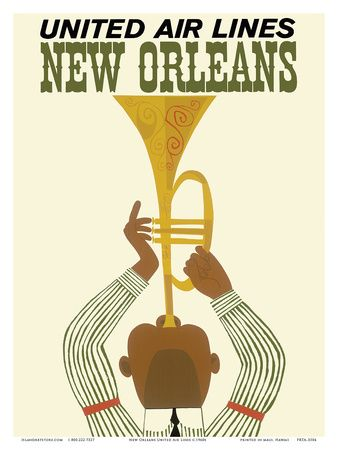New Orleans - Jazz Trumpet Player - United Air Lines Art Print at AllPosters.com