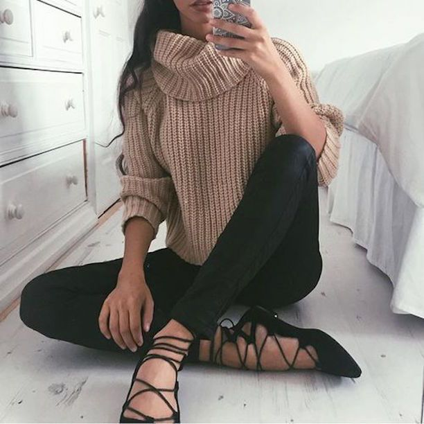 black lace up flats + turtleneck sweater                                                                                                                                                     More