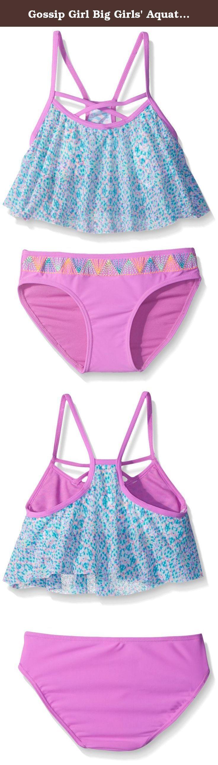 Gossip Girl Big Girls' Aquatic Aztec Two Piece Tankini, Mint/Multi, 14. Traditional swimsuit for 7-16 girls swimwear 2 piece flounce tankini.