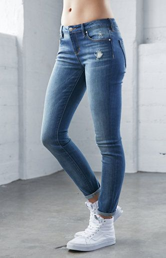 Elements Blue Mid Rise Skinny Jeans