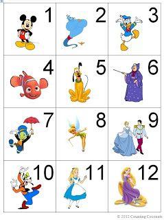 cartes calendrier : les chiffres de 1 à 31 sur des cartes illustrées de personnages Disney...