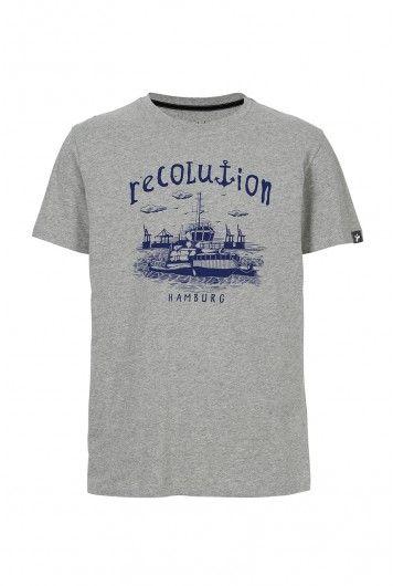 recolution Fair trade Men T-Shirt SCHLEPPER grau Bio Baumwolle organic vegan eco fashion Hamburg Hafen