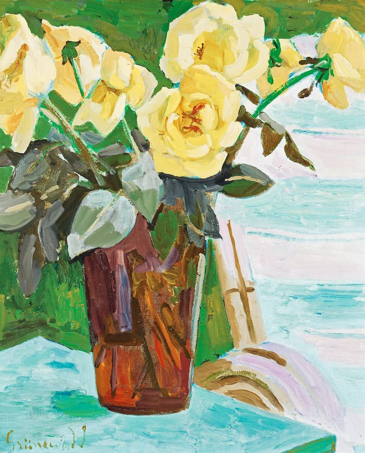 Stilleben med gula rosor. Signerad Grünewald. Utförd 1939. Duk 73,5 x 60,5 cm.