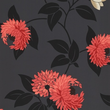 Black Wallpaper With Red Flowers