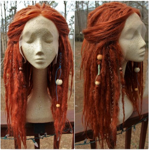 Lace-Front Synthetic Dreadlock Wig Ginger Red by SisterSarahsShop