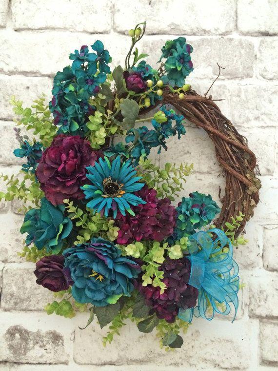 Teal & Purple Front Door Wreath Outdoor by AdorabellaWreaths