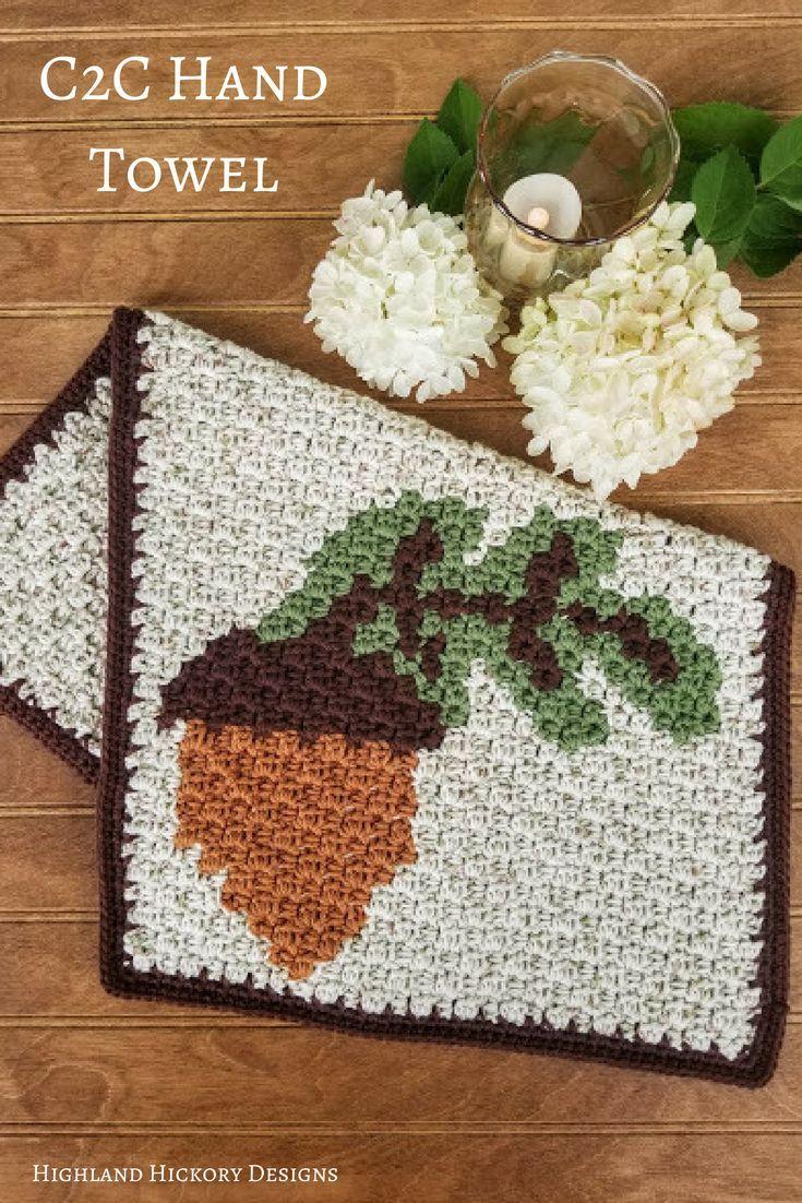Acorn Hand Towel Highland Hickory Designs Free Crochet Pattern