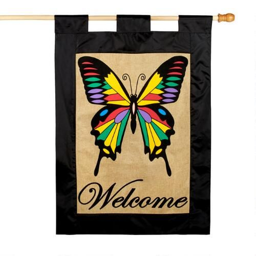 """One of my favorite discoveries at ChristmasTreeShops.com: """"Welcome"""" Rainbow Butterfly Burlap Yard Flag"""
