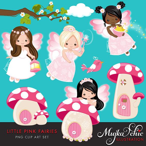 Little Pink Fairy Clipart. Cute Fairies Dressed up in by MUJKA