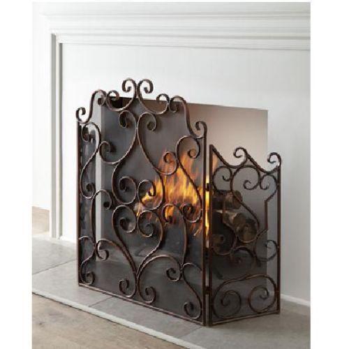 Neiman Marcus Kora Scroll 3 Panel Fireplace Screen Italian Scroll Firescreen New | eBay