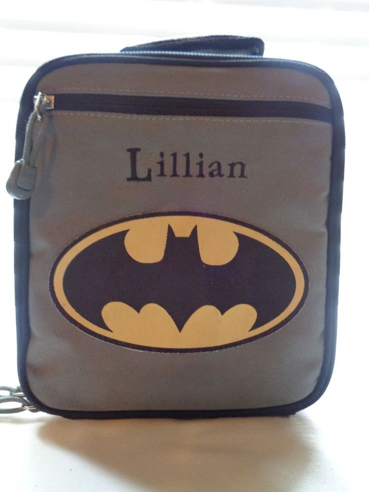 Pottery Barn Kids Gray BATMAN logo Lunch box - LILLIAN monogram - GUC #PotteryBarnKids #LunchBag