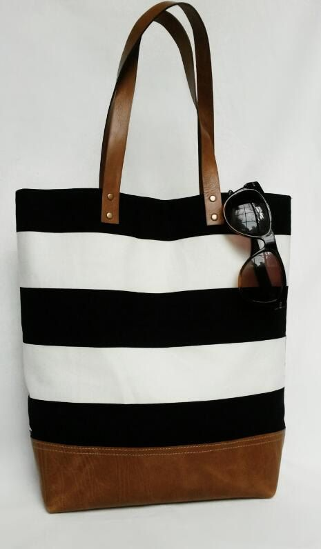 Black and White Stripe Canvas and Leather Tote by SeaportStitches