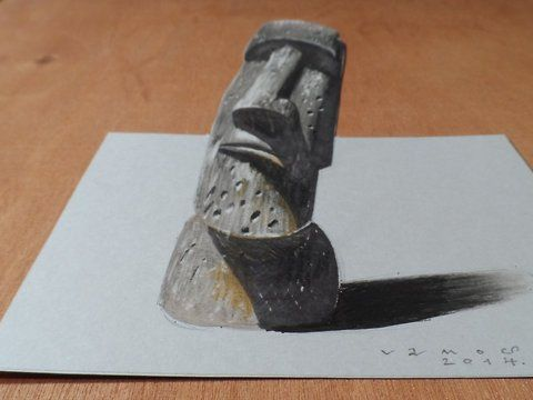 3 dimension Easter Island statue. Trick art on paper. How to draw a realistic Easter Island Head. Mixed media.<br />Materials used: <br />Pastell paper: light gray.  <br />H graphit pencil (Derwent) <br />Markers: Letraset PROMARKER <br />Black and white charcoal pencil.<br />Prismacolor colored pencil.<br />White gel pen.<br />Grey Stabilo marker 0,4.<br />Black Faber - Castell pen 0,7. <br />Soft eraser.<br />Music: Tremsz - Gunnar Olsen,<br />For sale: <a…