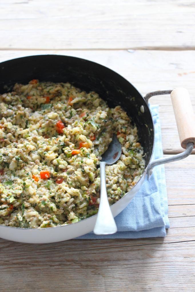 Romige rijstschotel met spinazie en gehakt - Lekker en Simpel