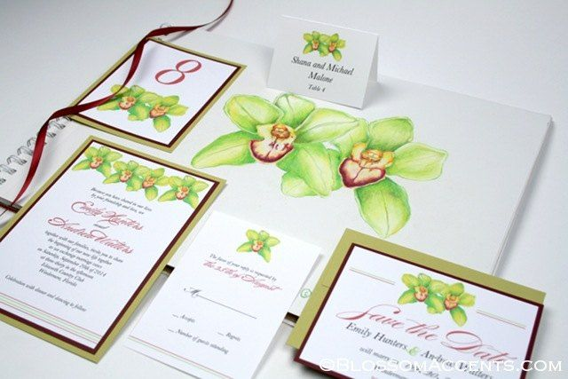 Green Orchid Wedding Invitation Suite by http://blossomaccents.com