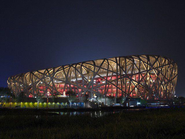 """'Ninho do Pássaro'.  """"Estádio Nacional de Pequim"""". # Pequim, China."""