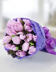 Gift Ideas - Easter Flowers: Purple Tulips Hand Bouquet!