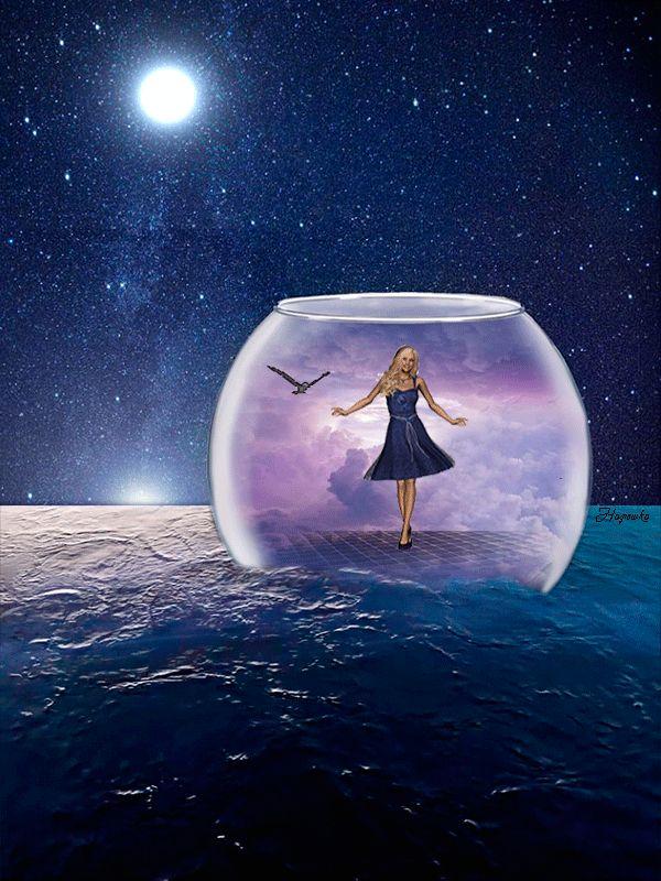 Анимация Девушка танцует в банке на воде, вокруг летает птица, светит луна в ночном небе, Надюшка