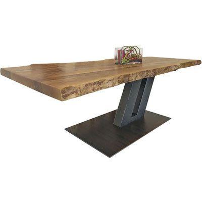 Holz Möbel, Tisch massiv Holz Unikat, Möbel Messmer, Monheim, Fossilien, Stahl, Design, modern, einzigartig, Einrichtung, Wohnzimmer, Esszimmer, Esstisch, wohnen, wood, livingroom, dining table, funiture