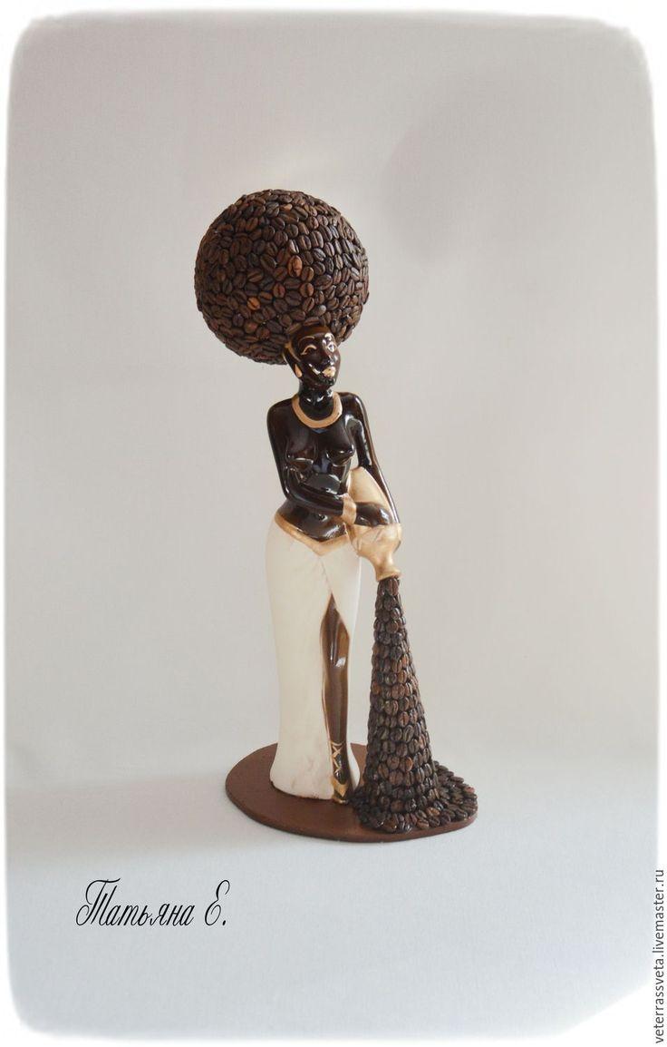 Coffee figurine | Купить Эфиопка с кофе - коричневый, статуэтка, кофе, кофейные зерна, интерьер, интерьерная композиция, подарок