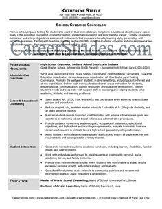 Professional School Counselor Resume | School Guidance Counselor Resume Sample (Example)