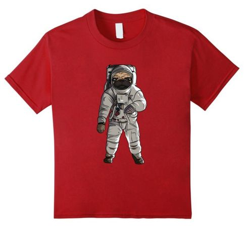 This Pug Astronaut T-Shirt is available in mens sizes S to 3XL, womens sizes S to XL and childrens sizes for ages 4 to 12. 100% cotton and comes in five different colors. http://iheartdogstshirtsandhoodies.com/pug-astronaut-in-space-t-shirt/