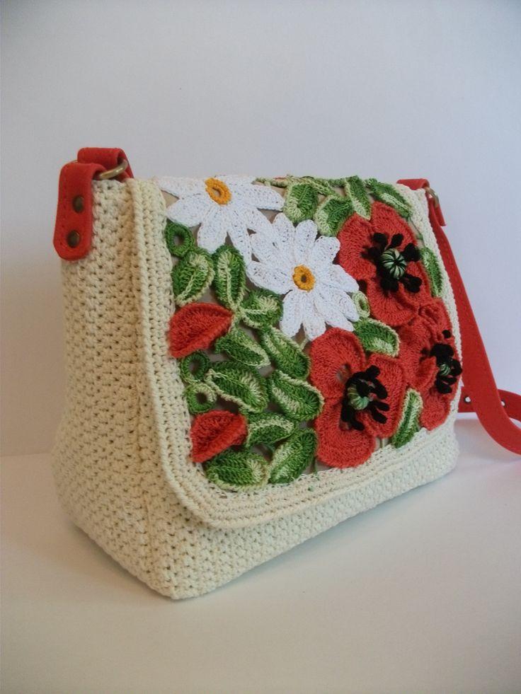 """Вязаная сумка """"Полевые цветы"""". 100% хлопок, натуральная кожа. Авторская ручная работа. Продается.  Подробная информация:https://www.livemaster.ru/dosiy?view=profile."""