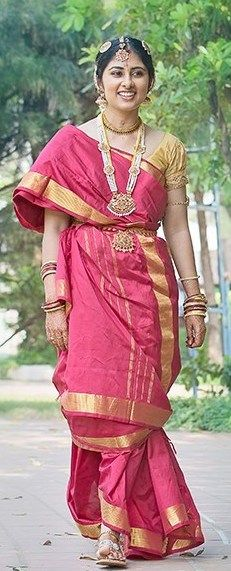 Real Bride Uthra in a Traditional Red Nine Yard Iyer Madisar Saree