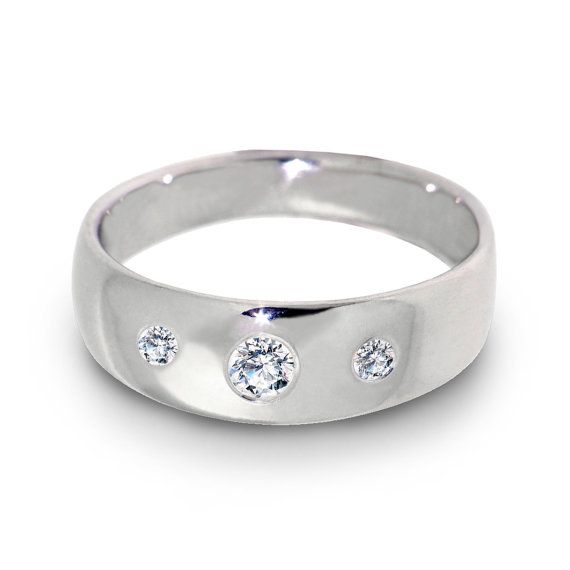 New Three Diamonds Ring Unique Diamond Wedding White Gold Ring for women Mens wedding band Custom Italian Fine jewelry like this but I would want him to have