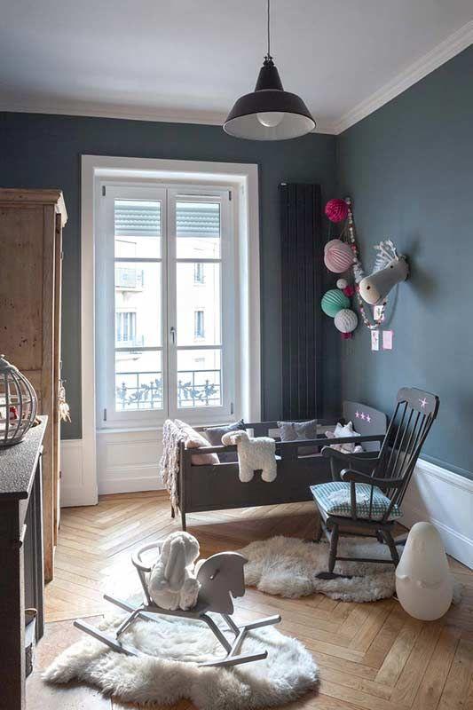 chambre de bb bohme en gris anthracite - Chambre Enfant Mur Bleu Gris