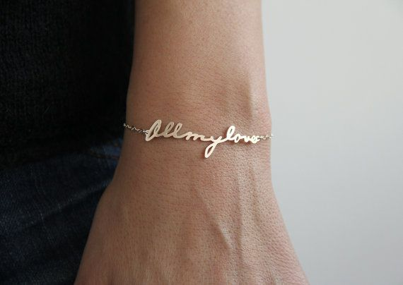 I want this!!-- Less permanent than a tattoo. <3 Signature Bracelet, Handwriting Bracelet, Personalized Name Bracelet, Word Bracelet, Nameplate bracelet