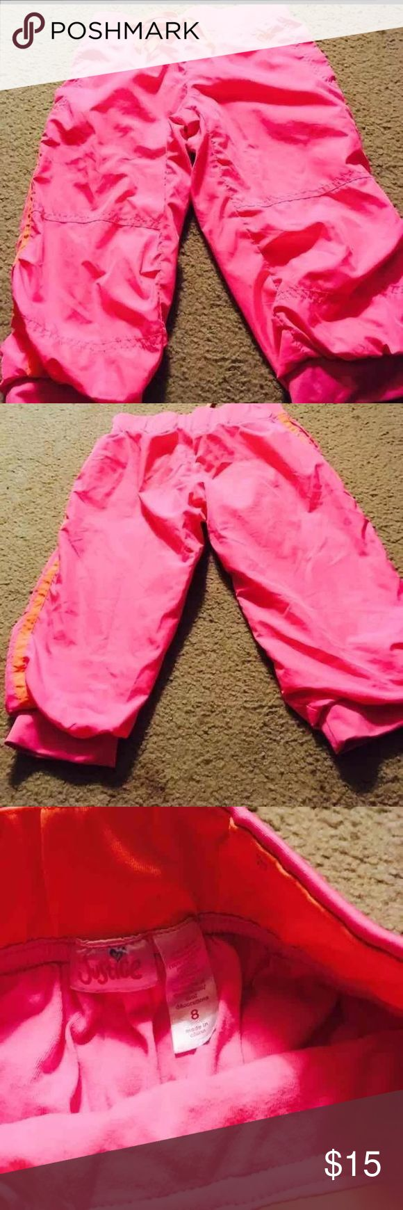 Justice for Girls Hot Pink Capris Adorable hot pink capris with orange strip on both sides. EUC Size 8 Pet friendly smoke free Justice Bottoms Casual